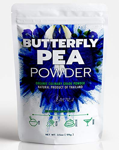 Organic Butterfly Pea Flower Powder 99g (3.5oz), Blue Matcha Tea, 100% Natural Food Coloring for Baking,Food, Drinks, & Smoothies. Culinary Grade.