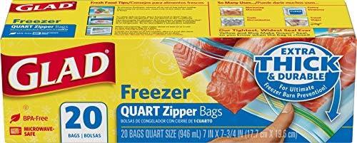 Glad Zipper Freezer Bags - Quart Size, 20s