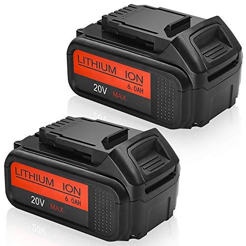 DCB205 Battery Replacement for DeWalt 20v battery Compatible with Dewalt 20 Volt MAX Lithium Ion Premium XR Battery DCB200 DCB206 DCB206-2 DCB204 DCB204BT-2 DCB203 DCB201 6.0Ah 2pack