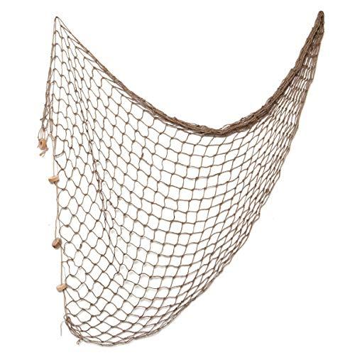 WINOMO 100X200cm Decorazione Rete da Pesca Corda di Cotone Stile Mediterraneo Rete da Pesca Fotografia Nautica Appeso a Parete Ornamento di Sfondo (Marrone Chiaro)
