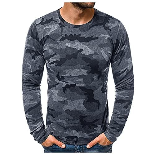Camiseta de manga larga para hombre con estampado de camuflaje y costuras