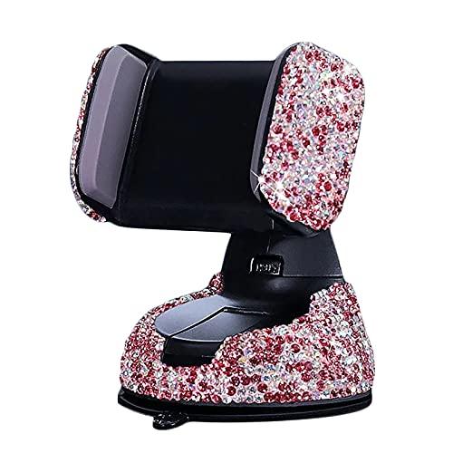 YoumiGO Tenedor De Teléfono De Cristal, Accesorio De Tablero Ajustable De 360 Grados, para Niña,Rojo