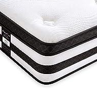 Inofia Sleep Mattresses 4FT6 Double Mattress, Memory Foam Sprung Mattress, 25cm Hybrid Bed Mattress ...