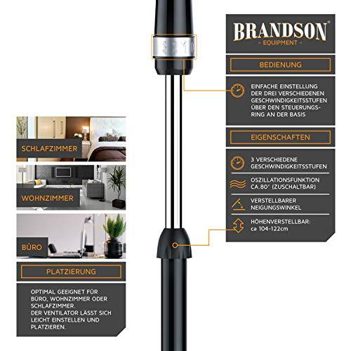 Brandson – Standventilator 40cm | Ventilator Standfuß höhenverstellbar | hoher Luftdurchsatz | 3 verschiedene Geschwindigkeitsstufen | Oszillationsfunktion ca. 80° | silber/schwarz Bild 3*
