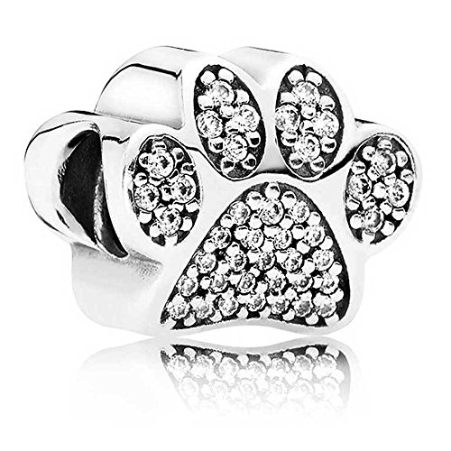 Silver Crystal Animal Pet Dog Paw Charm Bead - Charm Bracelet Puppy Pooch Kitten Cat