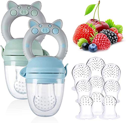 Food Feeder Set, Fruit Feeder with 3 Sizes Silicone Sacs, Silicone Teething Pacifiers Baby Fruit Feeding Set for Infants & Toddlers