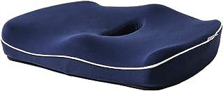 SARACAT クッション ヘルスケア座布団 低反発 腰痛クッションオフィス 健康クッション 骨盤サポート 体圧分散 腰楽 椅子 自宅 オフィス 車 高通気 カバー洗える ブラック 紺