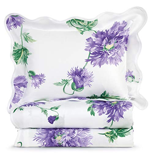 Lowest Prices! Schweitzer Linen Dahlia Sheet Sets, Lavender (Queen (1 Flat, 1 Fitted, 2 Std. Shams))