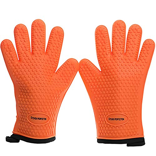 No.1 Set of Silicone Smoker Oven Gloves - Extreme Heat Resistant Washable Mitts for Safe Cooking Baking & Frying at The Kitchen,BBQ Pit & Grill. Superior Value Set + 3 Bonuses (Orange)