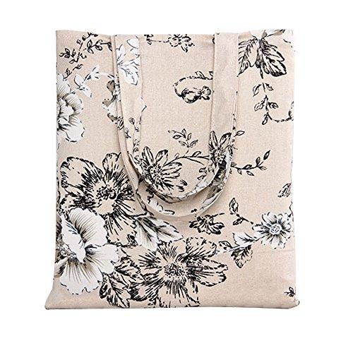 Caixia Women's Cotton Daisy Floral Canvas Tote Shopping Bag Light Brown, Black Floral/No Closure, Medium