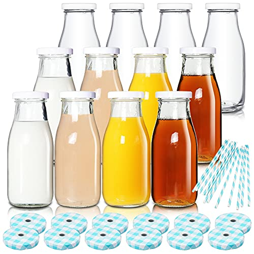 YEBODA 11oz Glass Milk Bottles with Reusable Metal Twist Lids and Straws for Beverage Glassware and...