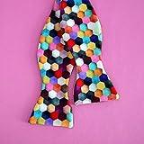 Multicolor self tie bow tie for men, rainbow tie