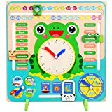 Tangshi Wooden Calender Clock, Educational Teaching Clock Calendar Board Game Cognitive Toy for Toddlers Boys and Girls 3 Year Olds +