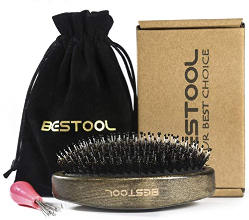 BESTOOL Boar Bristle Hair Brush with Detangle Nylon Pins, Wooden Palm Small Brushes for Men Women and Kid's Detangling & Smoothing, Best for Carry-on, Brush Cleaner Included