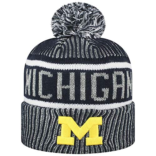Top of the World Men's NCAA Glacier Cuffed Knit Beanie Pom Hat-Michigan Wolverines