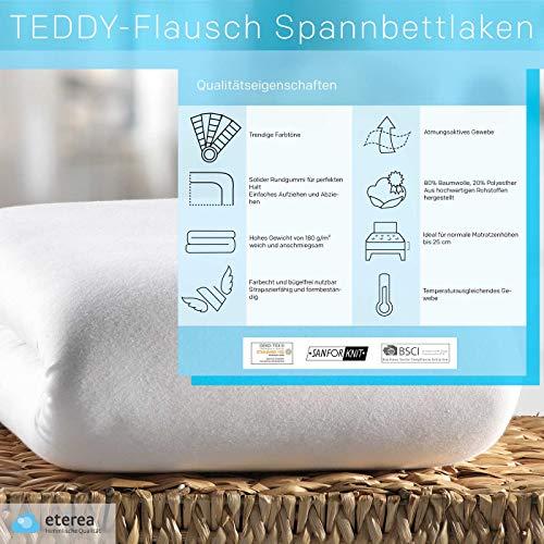 #11 Etérea Teddy Flausch Kinder-Spannbettlaken, Spannbetttuch, Bettlaken, 18 Farben, 60×120 cm – 70×140 cm, Hellblau - 4