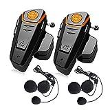 QSPORTPEAK 2 x BT-S2 sistema de comunicación de intercomunicación para motocicleta, auriculares Bluetooth con micrófono, cascos inalámbricos para equitación/esquí, 2 unidades
