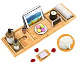 Domax Bathtub Caddy Tray Expandable Bamboo Tub Tray for Luxury Bath with Book Holder and Free Soap...