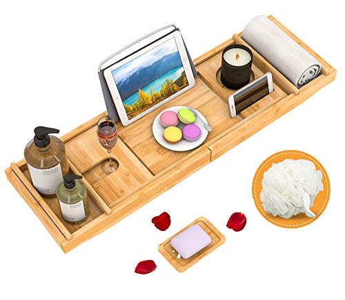 of bath caddies Domax Bathtub Caddy Tray Expandable Bamboo Tub Tray for Luxury Bath with Book Holder and Free Soap Dish Yellow