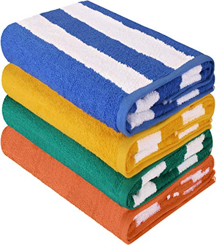 Utopia Towels Cabana Stripe Beach Towel (30 x 60 Inches) - 100% Ring Spun Cotton Large Pool Towels, Soft and Quick Dry Swim Towels Variety Pack (Pack of 4)