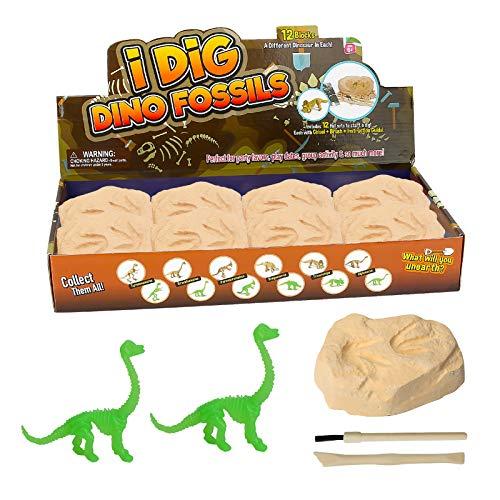Kit de excavación de Dinosaurios, CestMall 12 Piezas de Juguete de excavación arqueológica con Diferentes Figuras de Dinosaurios en el Interior Kit de excavación de Dinosaurios Dino Fossil Dig Kit