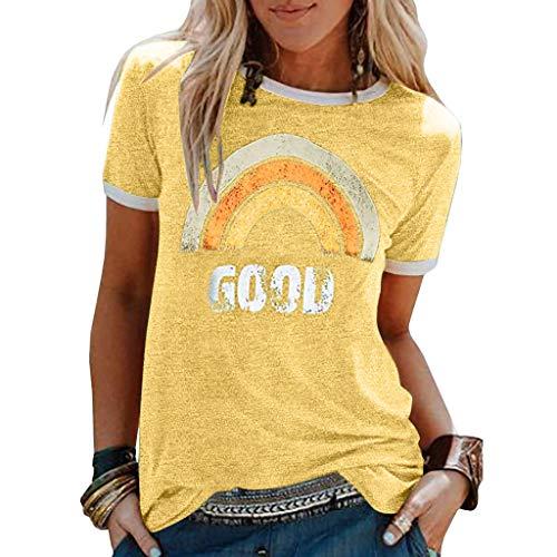 Innerternet Damen Good T-Shirt Regenbogen Muster Shirt Rundhals Kurzarm Oberteile Hemd Tops Bluse Sommer Oberteile Oben Hemd Grafik Drucken Oberteile Tee Tops (L, Gelb)