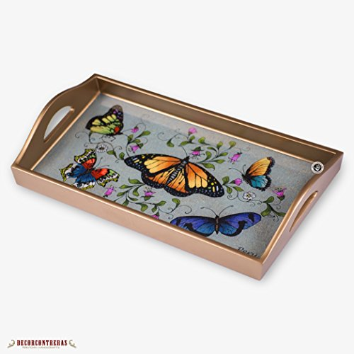 Glass Wood Serving Tray with handle from Peru