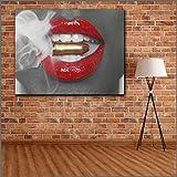 Surfilter Fashion Home Decor Wall Ballets y labios rojos en la pintura de la pared de la imagen de la lona para la sala de estar Pósters e impresiones 60x75cm 24x30 pulgadas sin marco