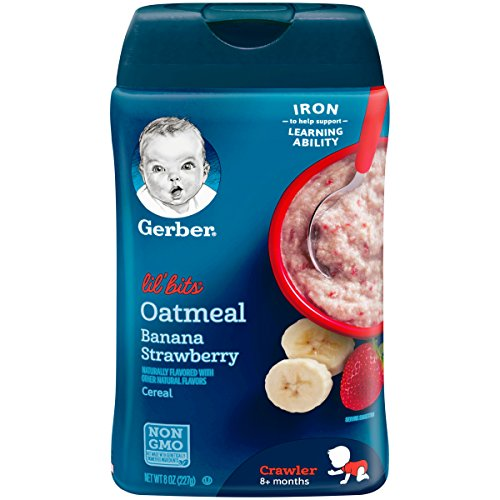 Gerber Lil' Bits Oatmeal Banana Strawberry Baby Cereal, 8 Ounces (Pack of 6)