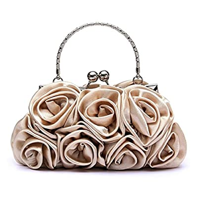 Shineweb Vintage 3D Rose Wedding Bag Party Clutch Prom Evening Handbag