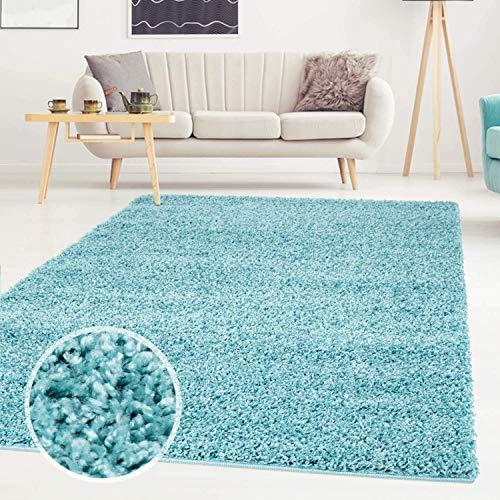ayshaggy Shaggy Teppich Hochflor Langflor Einfarbig Uni Türkis Weich Flauschig Wohnzimmer, Größe: Läufer 60 x 110 cm