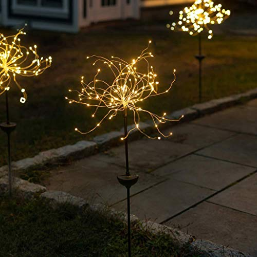 JDKC- DIY Color LED Fairy Lights, Copper Wire Solar Firework Lights, Garden Lights Outdoor Landscape Light, for Walkway Patio Lawn Backyard Party Decor 2PCS (Color : Warm light, Size : 150LED)