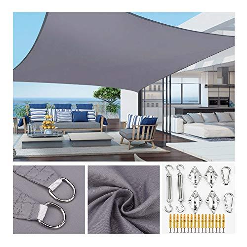 HOXMOMA Rectangular Toldo Vela de Sombra con Kit de Fijación, protección Rayos UV Impermeable para Patio, Exteriores, Jardín, Pérgola, Gris,2.5×2.5m/8'x8'