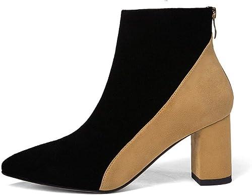 mujer botas Ante Botines Chelsea botas Martin,Impermeables Skid Zipper Botines De Tacon Alto