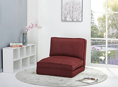 ARTDECO Schlafsessel Gästebett Jugendsessel Kindersessel Bettsessel Stoffbezug (groß, rot)