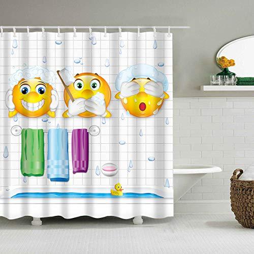 YUJEJ801 Smiley Handtuch Zahnbürste Duschvorhang Anti-Schimmel Duschvorhang aus Polyester Wasserabweisend Anti-Bakteriell mit 12 Duschvorhangringen Bad Vorhang für Badezimmer Badewanne Hauptdekoration