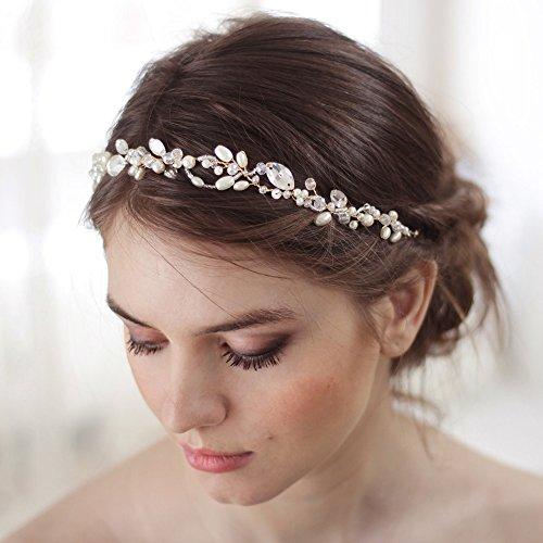 Kercisbeauty Handgefertigtes Haarband mit doppeltem Rankenzweig, schönes Accessoire für Bräute, Brautjungfern oder Partys.