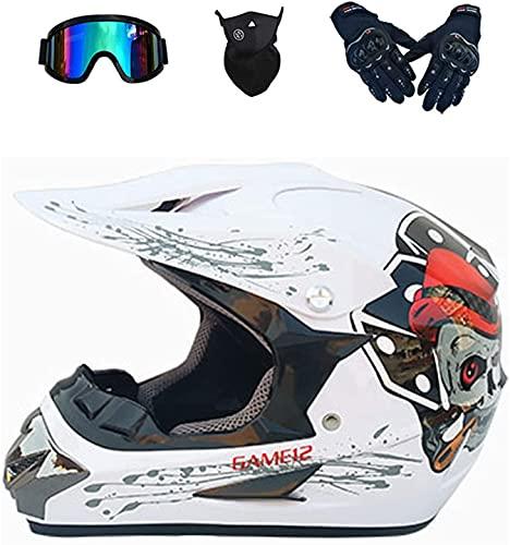 YHSW Casco De Moto Integral Casco, con Gafas/MáScara/Guantes para Mayor Seguridad, Forro Desmontable EstáNdar De Seguridad Ece 22.05
