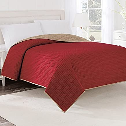 Martex Solid Reversible Coverlet Twin Khaki/Red