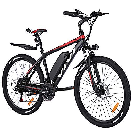 VIVI 26/27.5 Zoll Ebike E Mountainbike, 350W E-MTB Elektrofahrrad Damen Herren, 36V/ 10.4 Ah Li-Ion Akku, 21-Gang-Getriebe Pedelec Elektro Fahrrad (26\'\'-Rot)