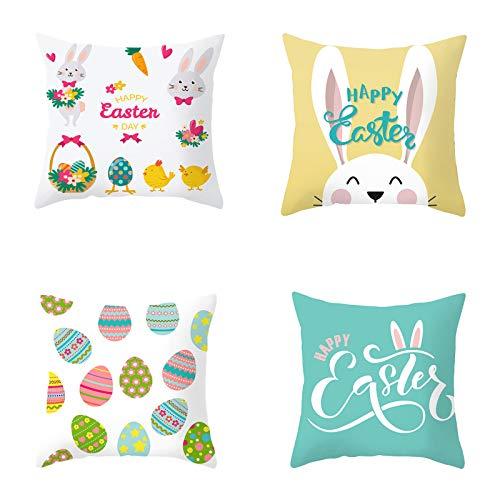 Fodere per cuscini pasquali Fodere per cuscini pasquali e uova Fodere per cuscini per divano divano, Fodere per cuscini serie Pasqua Cuscino (Set-A, 4pcs)