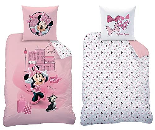 Minnie Mouse Bettwäsche-Set Downtown 135 x 200 cm + 80 x 80 cm 100% Baumwolle in Renforcé-Linon-Qualität Minnie Maus Disney Mickey Daisy Donald Goofy Sweet Love mit Reißverschluss Deutsche Größe