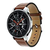 Minggo Bands for Samsung Gear S3 Frontier/Classic Watch Leather Bracelet, 22mm Premium Leather Straps with Stainless Steel Buckle Replacement Wristband for Samsung Gear S3 Frontie (Brown-Leather Band)