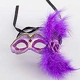 APcjerp Máscara Veneciana del Traje de señora Girls Pluma de la máscara de Halloween Mardi Gras Máscara del Partido de Cosplay 14.5X7.5Cm, púrpura Hslywan (Color : Purple)