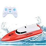 RC Boat Remote Control Boats for Pools and Lakes, STOTOY Racing Boat 2.4GHz 14km/h Mini Remote Boat Toys for Kids Boys Girls