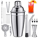 Baozun Cocktail Shaker 19 Teiliges Cocktail Bar Set Bar Zubehör Cocktail Set 700 ML CocktailShaker Edelstahl Cocktail Shaker Mixer