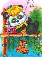 大人と子供デジタル絵画_動物のかわいいクマ_プレプリントキャンバス油絵_家の装飾塗装された30X40Cm_(フレームレス)