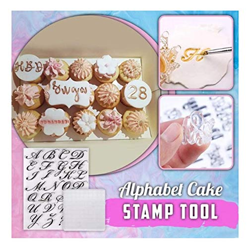 UpdateClassic Alphabet Cake Stamp Tool - Food-Grade DIY Stamp Mold Set Suitable for Making Fondant Biscuit Cake Cookie - Reusable & Easy to Clean - Handmade English Letters Baking Tools (with Board)