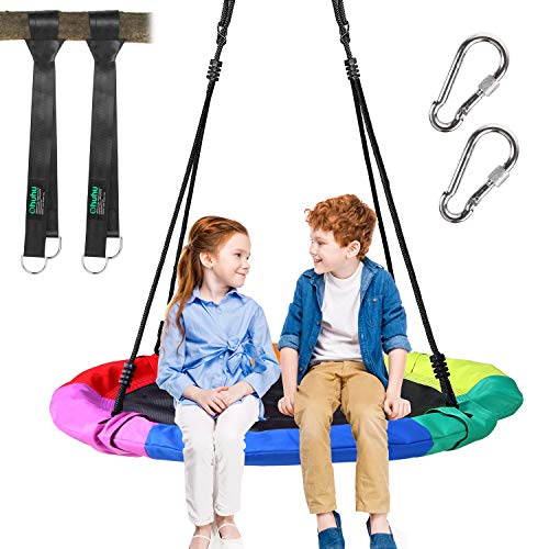 "Ohuhu Saucer Tree Swing for Kids 40"", 660lb Weight Capacity, Outdoor Flying Swing with Hanging Straps, Carabiner, Steel Frame and Adjustable Ropes, Easy Install, Great for Playground Swing, Backyard"