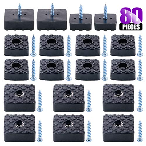Swpeet 80Pcs Black 22mm & 30mm Square Shape Furniture Pads with Screws, Heavy Duty Rubber Non Slip Non Skid Furniture Feet for Table Desk Chair and Sofa Leg Furniture Cups to Protect
